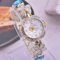 Fashion Bracelet Watches for Woman Ladies Gold Tone Six-Petal Flower Heart Wrist