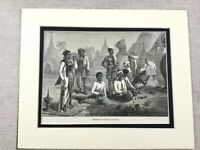 1882 Antique Print Myanmar Buddha Burma Temple Landscape Worshipers