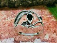 Pequeño Esterlina Anillo de Plata 925 Piedra Negro Estilo Moderno Diseño Mujeres