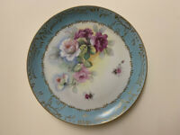 "Antique Porcelain Plate Hand-painted: Very Good Condition 12.25"" in diameter."