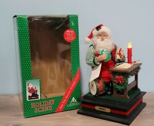 Vintage Light Up Musical Holiday Creations Santa Claus Desk Childrens Letters
