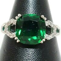 2.80Ct Green Emerald Cushion Cut Anniversary Engagement Ring 14K White Gold Over