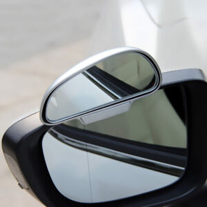 2x Silver Adjustable HD Convex Blind Spot Glass Car Rear View Mirror Accessories