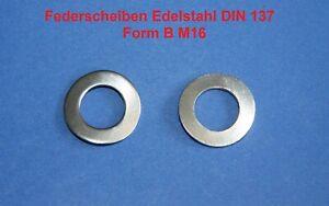 2 Federscheiben Edelstahl M 16 DIN 137 FORM B - Wellscheiben, Unterlegscheiben