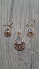 925 Sterling Silver Moonstone Earrings And Pendant