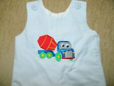 Boy's Longall Blue & White Check w/Construction Trucks Size 12 Months