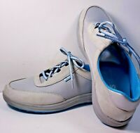 SAS Sporty Silver / Gray Lace Up Leather Nylon Sneaker Shoe Womens 8.5 Wide USA