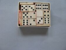 DOMINOS ALL BONE ANTIQUE COMPLETE SET OF 28 DOUBLE 6 MINIATURE IN SIZE