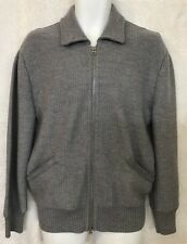 Tom Ford Cardigan Sweater Gray Wool Knit Suede Trim Zip Up  54