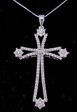 14k White Gold Necklace w/Diamond Cross Pendant