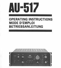 SANSUI AU-517 INTEGRATED ST AMP OPERATING INSTRUCTIONS INC CON DIAGS PRINTED ENG