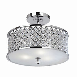 TIM Silver Chrome Flush Pendant with Crystal Glass Beads - E27 Ceiling Light