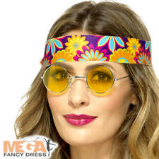 Yellow Hippie Specs Adults Fancy Dress 70s Hippy Lenon Celebrity Costume Glasses