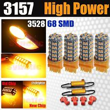 4x 3157 3057 3528SMD 68-LED Amber/Yellow 263LM Turn Signal Light Bulbs+Resistors