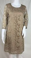 Tribal Femme Tan Lace Illusion Sheath Dress 3/4 Sleeve Keyhole Back Lined Size S