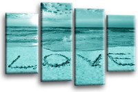 LARGE TEAL SEASCAPE SUNSET CANVAS PICTURES LOVE WALL ART SPLIT 4 PANEL New