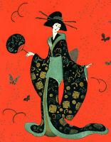 1930s French Pochoir Print Edouard Halouze Artdeco Exquisite Geisha Kimono Fan S