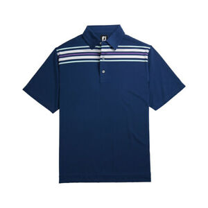 New Men's FootJoy Lisle Chest Stripe Polo Shirt - Blue - Medium