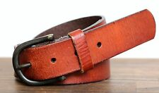 AUTHENTIC LEVI'S BRITISH TAN BROWN GENUINE LEATHER BRASS BUCKLE BELT M L (37D