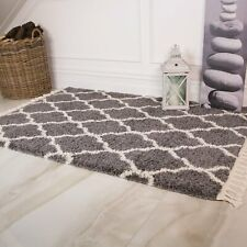 Gray Ivory Trellis Moroccan Rugs with Fringe Tassle Non Shed Thick Shaggy Rug