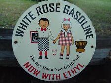 VINTAGE OLD 1929 WHITE ROSE GASOLINE PORCELAIN GAS PUMP SIGN WITH ETHYL