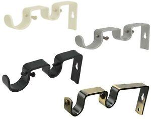 19mm & 19mm Double Rod Pole Wall Bracket Screws Drapery Holder Metal Fixing Uk