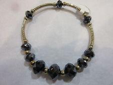 Bracelet Faceted Black Crystal Gold Finish Beaded Adjustable Stretch Fit NWT 2Q
