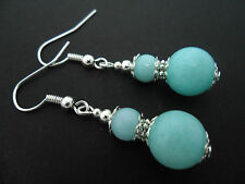 A PAIR OF BLUE JADE  SILVER  PLATED DROP DANGLY EARRINGS. NEW.
