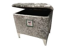 "SILVER CRUSHED VELVET 18"" x 12"" x 18"" HIGH STORAGE FOOTSTOOLS WITH CHROME LEGS"