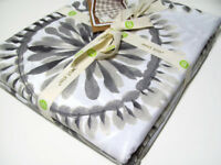 West Elm Multi Colors Gray Brown Feather Medallion Cotton Full Queen Duvet Cover