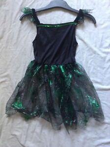 New Girls green/black web dress Halloween costume  3-4 to 7-8 years nwot