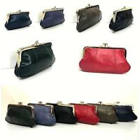 WOMEN LADIES BIG POUCH PURSE COIN  WALLET SUPER SOFT GENUINE LEATHER CLIP TOP