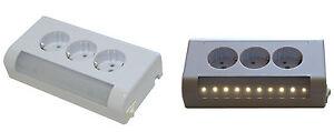 3-fach Aufputz Steckdose Schuko Aufputz 3steckplätze mit LED