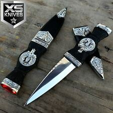 "7"" Fantasy Collectible Scottish Dirk Dagger Leaf Emblem w/ Red Gemstone"
