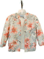 Alfred Dunner Women's Petite Floral Open Front Jacket 3/4 Sleeves Plus Size 14P