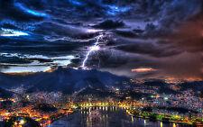 Framed Print - Massive Lighting Bolt Striking a Mountain City (Picture Poster)