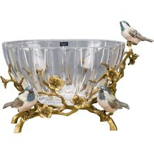 ORNATE GLASS PORCELAIN AND BRONZE Ornate CENTERPIECE BOWL BIRDS BRANCHES