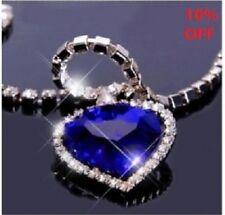 Titanic Heart Of el Océano Collar Cristal Azul Regalo Día San Valentín Romántico