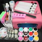 New Pro 36W UV GEL Pink Lamp & 12 Color UV Gel Nail Art Tool Kits Manicure Set