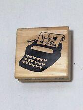 CRAFTSMART Wood mounted Rubber Stamp Valentines Typewritter Truly Smitten2x2 NEW
