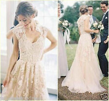 Vintage Crew Wedding Dresses 2017 Sheer Lace Cap Sleeve Bridal Gowns Custom Size