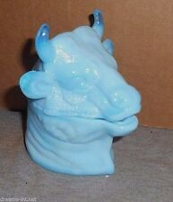 BLUE MILK GLASS FERDINAND THE BULL HEAD MUSTARD OR CONDIMENT COVERED JAR COW  c