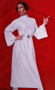 Womens Star Wars PRINCESS LEIA Dress Jedi Halloween Purim Costume Wig S M L NEW