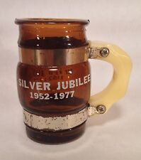 Vintage Small Mug Shot Glass - Silver Jubilee 1952-1977 - Very Cool!