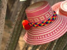 Artisan Wayuu Ethical Hand Woven Straw Hat Columbia Pom Pom Fair Trade Pink