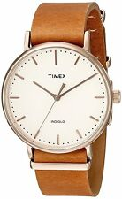 Timex TW2P91200 Men's Weekender Fairfield Full-Size Brown Leather Band Watch