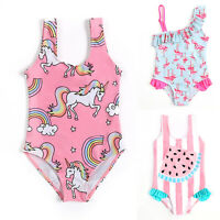 Kids Girls Cartoon Swimsuit Summer Swimwear One Piece Bikini Monokini Beachwear