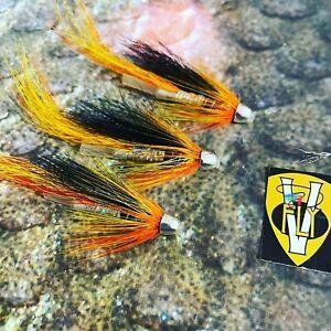 3 V Fly Silver Cascade Conehead Salmon Tube Flies & Treble Hooks