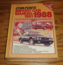 1981-1988 Chiltons Import Car Shop Service Manual BMW Mercedes Benz Porsche