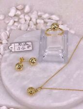 GoldNMore: 18K Jewelry Set Gold Necklace Pendant Earrings Ring 4.4G